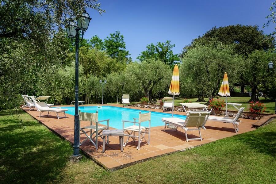 Schwimmbad des Ferienhaus Casa Tonio bei Lucca im Garten mit Olivenhain