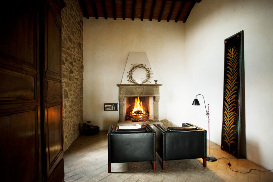 Suite with fireplace in Casa Bramasole in the villa in Umbria