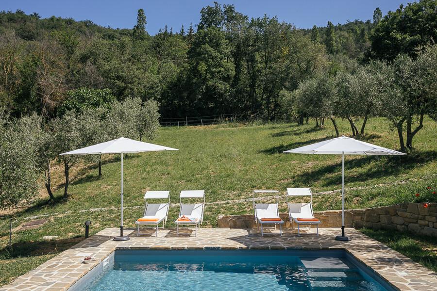Privater Pool mit Salzwasser und Olivenbäumen in der Casa Campori in Umbrien