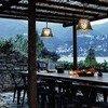 Esstisch mit Blick auf den Comersee in der Villa Crotto