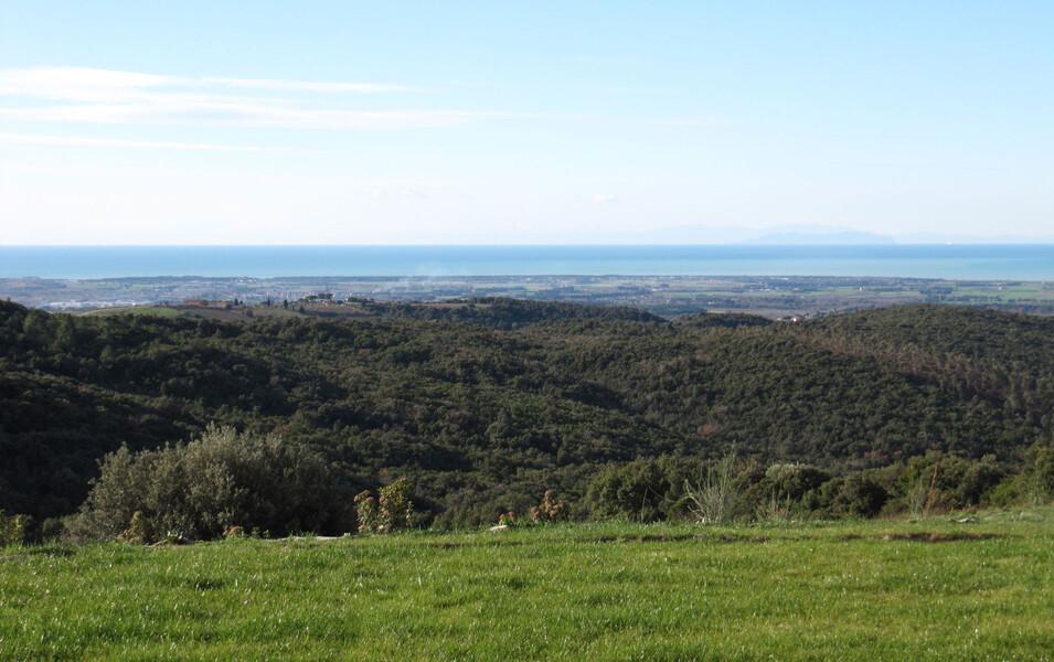 Das Ferienhaus La Lepraia bietet einen Fernblick bis zum Meer