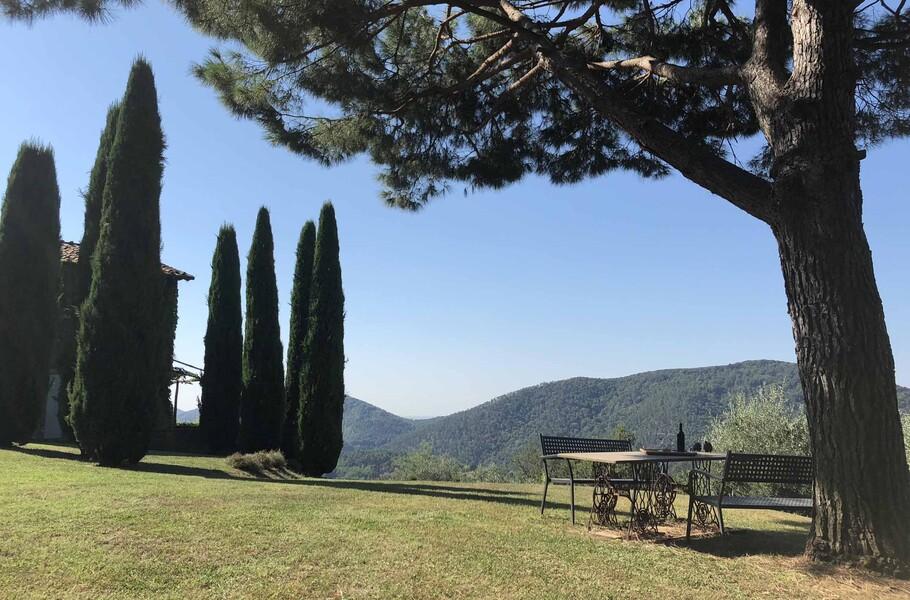 Gemütlicher kleiner Sitzbereich unter einem Baum im Garten der Ferienvilla Die Küche mit Essbereich mit Platz für 6 Personen in der Ferienvilla Compignano Barn