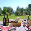 Gedeckter Tisch mit Wein aus Lucca im Garten des Ferienhaus Casa Tonio bei Lucca