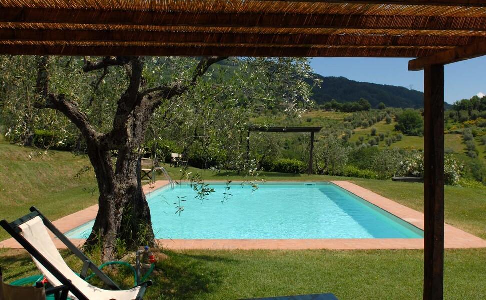 Genießen Sie von Ihrem hauseigenen Pool den Ausblick in die grünen Hügel der Toskana